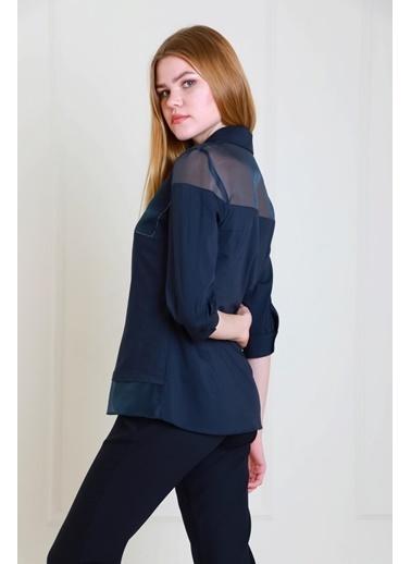 JEANNE D'ARC Organze Garnili Cepleri Taş Detaylı Pamuk Bluz Jb18311 Lacivert